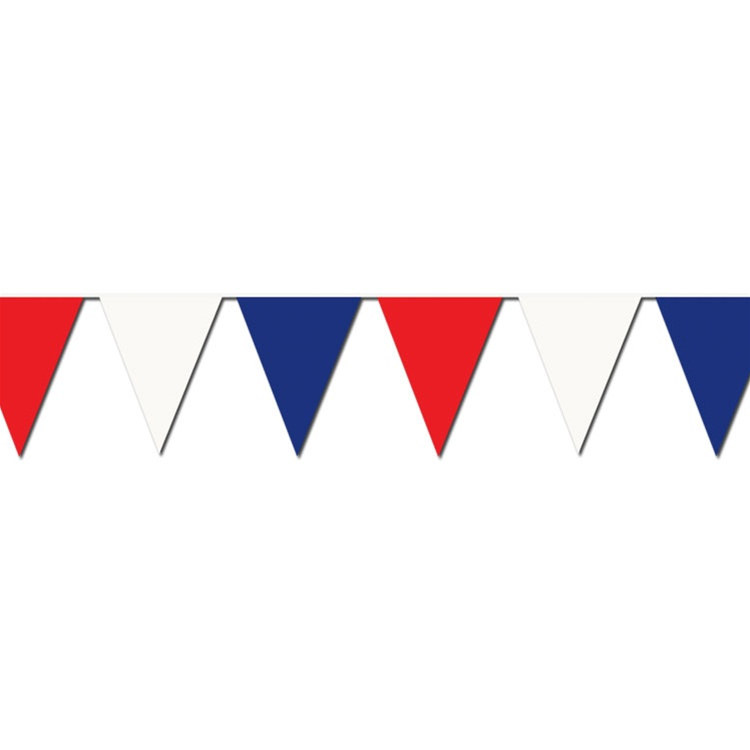 red white blue outdoor pennant banner 120 feet partycheap. Black Bedroom Furniture Sets. Home Design Ideas