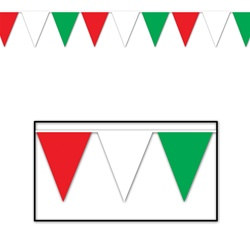 Red, White, and Green Outdoor Pennant Banner, 120 ft