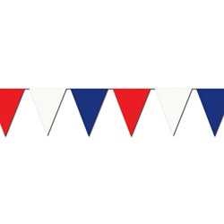 Red, White, and Blue Outdoor Pennant Banner, 30 ft