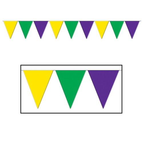 Mardi Gras Pennant Banner 12 Ft PartyCheap