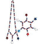 Red, White, and Blue Star Beads Choker/Bracelet Set