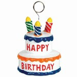 Birthday Cake Polystone Photo/Balloon Holder, 6 Ozs