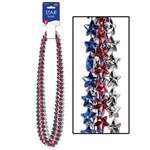 Red, Silver and Blue Star Beads (6/pkg)