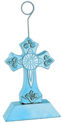 Light Blue Cross Photo/Balloon Holder