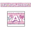 Metallic It's A Girl Banner