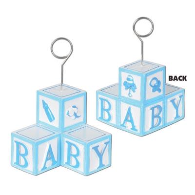 Light Blue Baby Blocks Photo Balloon Holder Partycheap