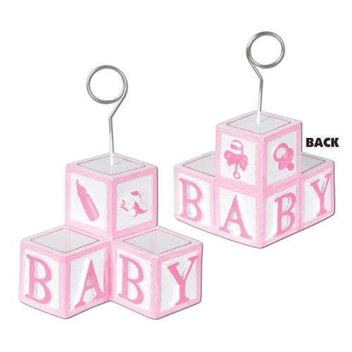 Pink Baby Blocks Photo/Balloon Holder - PartyCheap