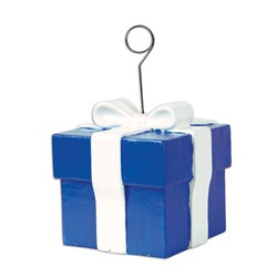 Blue Gift Box Photo/Balloon Holder