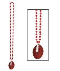 Red Beads with Football Medallion (1/pkg)