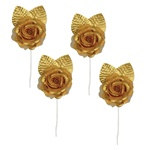 Elite Collection Gold Rose Tie-Backs (4/pkg)