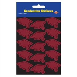 Maroon Graduation Cap Stickers