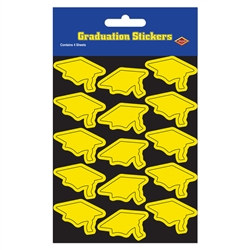 Yellow Graduation Cap Stickers