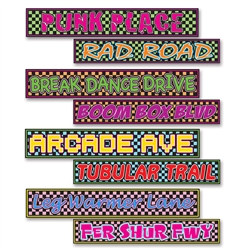 80's Street Sign Cutouts (4/Pkg)