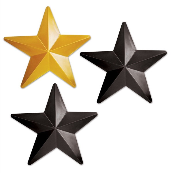 Black and gold plastic stars 3 stars per package partycheap