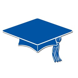 Blue Mini Grad Cap Cutouts