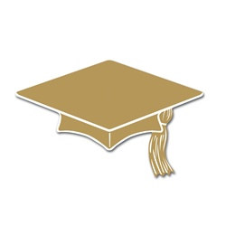 Gold Mini Grad Cap Cutouts (10/pkg)