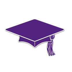 Purple Mini Grad Cap Cutouts (10/pkg)