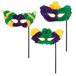 Mardi Gras Fanci-Feather Masks w/Stick (Sold Individually) (Assorted Designs)