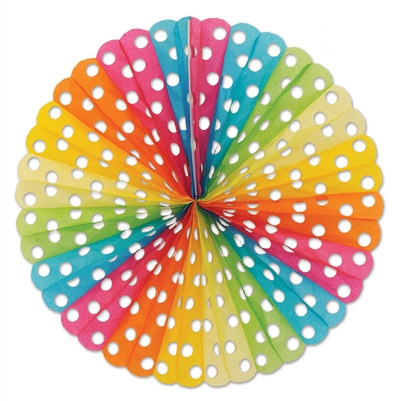 Multi-Color Polka Dot Tissue Fan