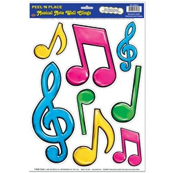 Neon Musical Notes Peel N Place (8/sheet)