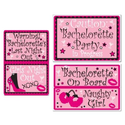 Bachelorette auto clings 5 pkg partycheap for Bachelorette party decoration packages