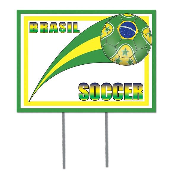 Brasil Soccer Plastic Yard Sign PartyCheap