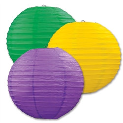 Golden-Yellow, Green, and Purple Paper Lanterns (3/Pkg)