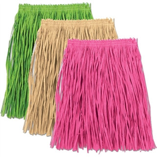 Adult Mini Paper Raffia Hula Skirt (Select Color)