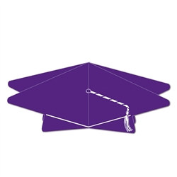 Purple 3-D Graduation Cap Centerpiece