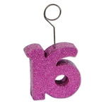 "Glittered ""16"" Photo/Balloon Holder"