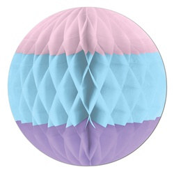 Pink, Light Blue, and Lavender Art-Tissue Ball
