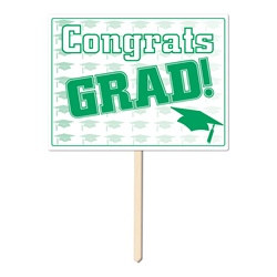 Green Congrats Grad Yard Sign