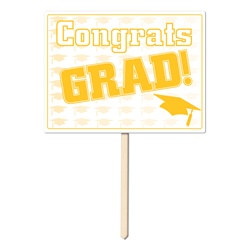 Gold Congrats Grad Yard Sign