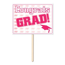 Pink Congrats Grad Yard Sign
