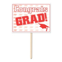 Red Congrats Grad Yard Sign