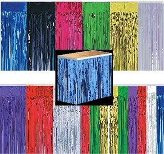 Metallic Fringe Table Skirting 1-Ply