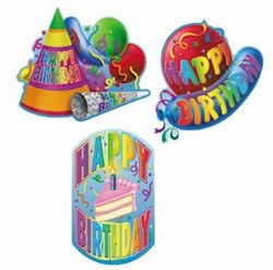 Happy Birthday Cutouts 18in (3/Pkg)