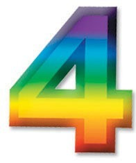 Multi-Color Plastic 3-D Number-4, 11 inches (1/pkg)
