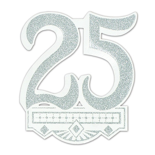 glittered 25th anniversary crest partycheap. Black Bedroom Furniture Sets. Home Design Ideas