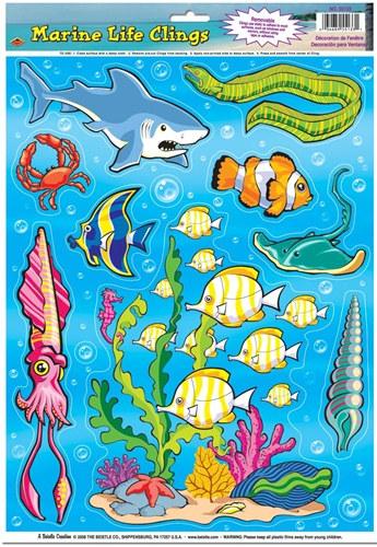 Marine Animal Window Clings 14 Sheet Partycheap