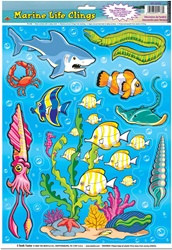 Marine Animal Window Clings (14/sheet)