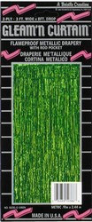 Green 2-Ply FR Gleam N Curtain Metallic Curtain
