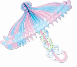 Pink and Light Blue Tissue Parasol