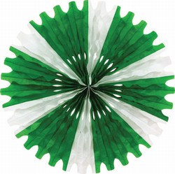 Green and White Art-Tissue Fan