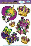 Mardi Gras Window Clings (6/sheet)