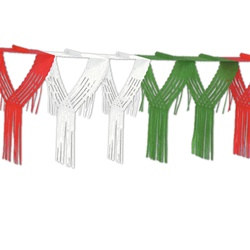 Red, White, and Green Drop Fringe Garland