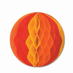 Gold, Orange, and Red Art-Tissue Ball, 12 in