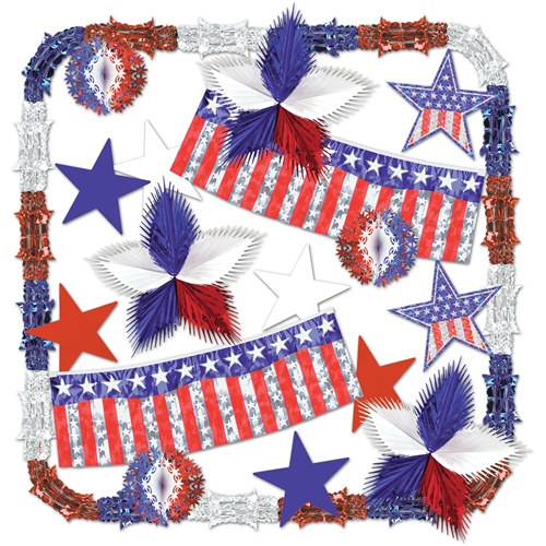 Stars and stripes metallic decorating kit partycheap Stars and stripes home decor