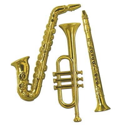 Gold Plastic Musical Instrument Decorations PartyCheap