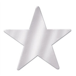 Silver Metallic Star Cutouts (12/Pkg)